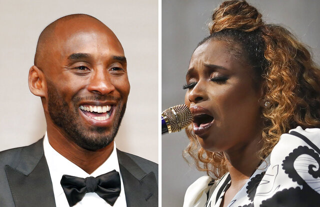 FILE - At left, in a March 4, 2018, file photo, Kobe Bryant attends the Governors Ball after the Oscars  in Los Angeles. At right, in a May 28, 2019, file photo, Jennifer Hudson sings