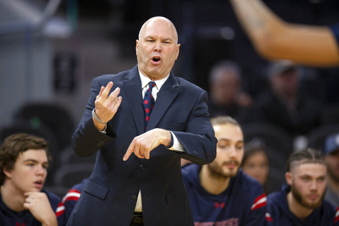 Saint Mary's coach Randy Bennett reacts to an official's call during the first half of the team's NCAA college basketball game against Nevada on Saturday, Dec. 21, 2019, in San Francisco. (AP Photo/D. Ross Cameron)