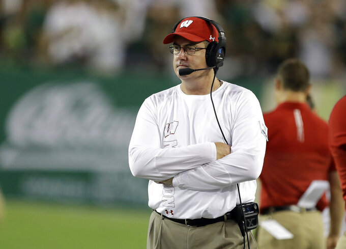Wisconsin coach Paul Chryst watches his team play South Florida during the first half of an NCAA college football game Friday, Aug. 30, 2019, in Tampa, Fla. (AP Photo/Chris O'Meara)
