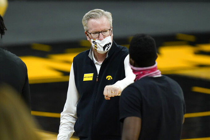 Iowa head coach Fran McCaffery reacts after an NCAA college basketball game against Northern Illinois, Sunday, Dec. 13, 2020, in Iowa City, Iowa. Iowa won 106-54. (AP Photo/Charlie Neibergall)