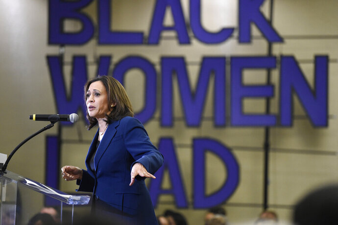 Democratic presidential candidate Sen. Kamala Harris, D-Calif., speaks to a crowd during a