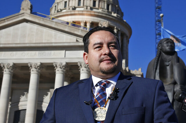 FILE - In this Dec. 17, 2019, file photo, Oklahoma Indian Gaming Association Chairman Matt Morgan speaks during a news conference outside the state in Oklahoma City. Morgan is rejecting Oklahoma Gov. Kevin Stitt's latest casino gambling offer and accused the governor of trying to take advantage of the tribes during the coronavirus pandemic. (AP Photo/Sue Ogrocki, File)