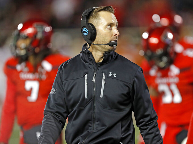 FILE - In this Nov. 10, 2018, file photo, Texas Tech Kliff Kingsbury walks off the field during the first half of an NCAA college football game against Texas, in Lubbock, Texas. Former Texas Tech quarterback Kliff Kingsbury is again on the hot seat as coach of his alma mater. (AP Photo/Brad Tollefson, File)
