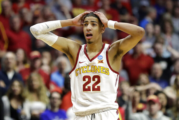 Iowa State's Tyrese Haliburton reacts to a call during the second half of a first round men's college basketball game against Ohio State in the NCAA Tournament Friday, March 22, 2019, in Tulsa, Okla. Ohio State won 62-59. (AP Photo/Jeff Roberson)
