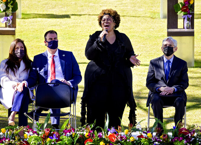Mandisa sings during the 26th Anniversary Remembrance Ceremony at the Oklahoma City National Memorial and Museum in Oklahoma City, Okla on Monday, April 19, 2021. (Chris Landsberger/The Oklahoman via AP)