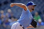 Kansas City Royals starting pitcher Glenn Sparkman throws during the first inning of a baseball game against the Oakland Athletics Thursday, Aug. 29, 2019, in Kansas City, Mo. (AP Photo/Charlie Riedel)