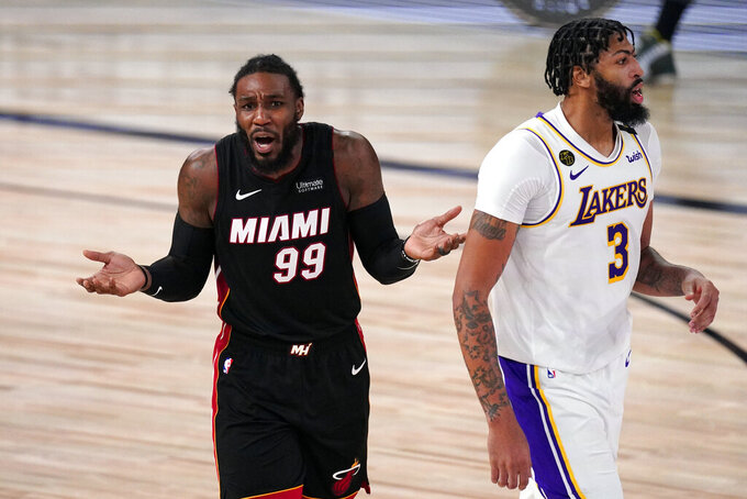 Miami Heat's Jae Crowder (99) reacts during the second half in Game 6 of basketball's NBA Finals against the Los Angeles Lakers Sunday, Oct. 11, 2020, in Lake Buena Vista, Fla. (AP Photo/Mark J. Terrill)