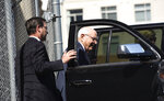 FILE - In this Oct. 2, 2019 file photo, Robin Hayes leaves the Federal Courthouse in Charlotte, N.C. The former North Carolina congressman and state Republican Party leader who lied to FBI agents about a bribery scandal received a pardon on Wednesday, Jan. 20, 2021, from outgoing President Donald Trump.  (John D. Simmons/The Charlotte Observer via AP, File)