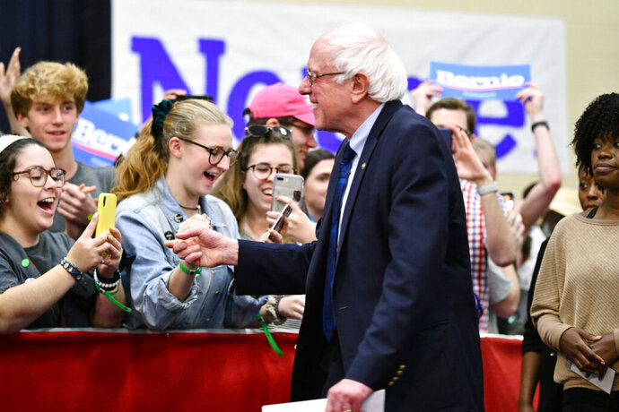 Sen. Bernie Sanders greets supporters in North Charleston, S.C., Thursday, March 14, 2019. South Carolina gave Bernie Sanders the cold shoulder in 2016. Four years and several visits later, Sanders hopes the state is ready to warm to him. (AP Photo/Meg Kinnard )