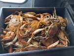 A tub of seasoned crabs is pictured at the grand opening of the Crab Cravers food truck in Wilmington, Delaware, on Sunday, July 18, 2021. (José Ignacio Castañeda /The News Journal via AP)