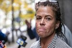 Linda Schellenger looks off after speaking the media outside of the Stout Center for Criminal Justice, Thursday, Oct. 17, 2019, in Philadelphia, following a not guilty verdict in the stabbing death of her son, Sean Schellenger. A jury found Michael White not guilty for the stabbing death in Rittenhouse section of the city last July. (Heather Khalifa/The Philadelphia Inquirer via AP)
