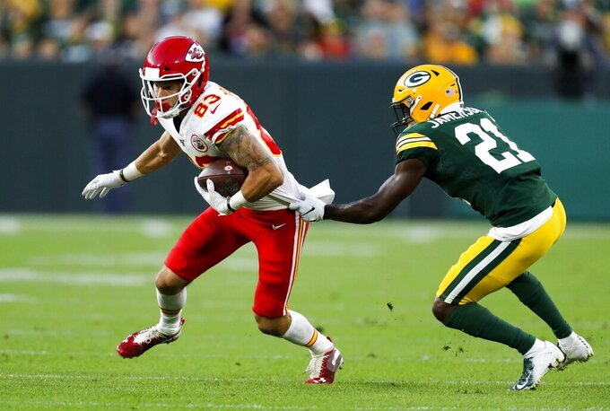 Green Bay Packers' Natrell Jamerson tries to stop Kansas City Chiefs' Cody Thompson during the first half of a preseason NFL football game Thursday, Aug. 29, 2019, in Green Bay, Wis. (AP Photo/Matt Ludtke)