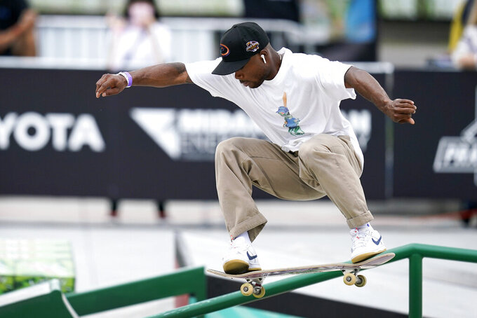 Dashawn Jordan, of the United States, practices during an Olympic qualifying skateboard event at Lauridsen Skatepark, Thursday, May 20, 2021, in Des Moines, Iowa. The questions under the magnifying glass at this week's Dew Tour — one of the last major qualifying events for the games in Tokyo in July — is whether the Olympics is ready for skateboarding and, more tellingly, whether skateboarding is ready for the Olympics. (AP Photo/Charlie Neibergall)
