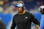 Detroit Lions head coach Dan Campbell watches from the sideline during the first half of a preseason NFL football game against the Buffalo Bills, Friday, Aug. 13, 2021, in Detroit. (AP Photo/Paul Sancya)