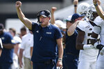 FILE - In this Sept. 7, 2019, file photo, Georgia Tech head coach Geoff Collins reacts during the second half of an NCAA college football game against South Florida, in Atlanta. For Georgia Tech coach Geoff Collins, there's no time for a trip down memory lane. He's got bigger issues to worry about as he leads the Yellow Jackets against former school Temple.  (AP Photo/Jon Barash, File)