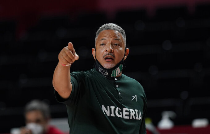 Nigeria's head coach Otis Hughley Jr gestures during women's basketball preliminary round game between United States of America and Nigeria at the 2020 Summer Olympics, Tuesday, July 27, 2021, in Saitama, Japan. (AP Photo/Eric Gay)