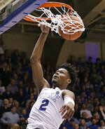 Duke's Cam Reddish (2) dunks against Miami during the second half of an NCAA college basketball game in Durham, N.C., Saturday, March 2, 2019. Duke won 87-57. (AP Photo/Gerry Broome)