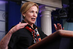 Dr. Deborah Birx, White House coronavirus response coordinator, speaks about the coronavirus in the James Brady Briefing Room, Thursday, March 26, 2020, in Washington. (AP Photo/Alex Brandon)