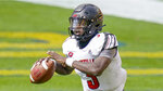 Louisville quarterback Malik Cunningham (3) plays against Pittsburgh during an NCAA college football game, Saturday, Sept. 26, 2020, in Pittsburgh. Cunningham and Georgia Tech's Jeff Sims will be looking to cut down on interceptions and other problems that have left each team with two straight losses entering Friday night's, Oct. 9 game in Atlanta. (AP Photo/Keith Srakocic)