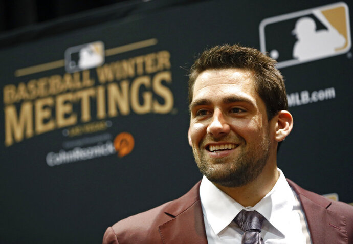 Boston Red Sox pitcher Nathan Eovaldi attends the Major League Baseball winter meetings, Monday, Dec. 10, 2018, in Las Vegas. (AP Photo/John Locher)