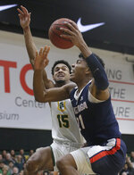 Gonzaga forward Rui Hachimura, right, shoots against San Francisco forward Nate Renfro (15) during the first half of an NCAA college basketball game in San Francisco, Saturday, Jan. 12, 2019. (AP Photo/Jeff Chiu)