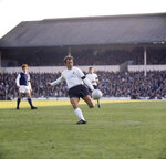 FILE - In this Nov. 1, 1969 file photo, Tottenham Hotspur's Jimmy Greaves in action at White Hart Lane. Jimmy Greaves, one of England's greatest goal-scorers who was prolific for Tottenham, Chelsea and AC Milan has died. He was 81. With 266 goals in 379 appearances, Greaves was the all-time record scorer for Tottenham, which announced his death on Sunday, Sept. 19, 2021. (PA via AP, File)
