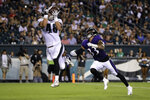 Philadelphia Eagles' Alex Ellis (48) catches a touchdown pass against Baltimore Ravens' Bennett Jackson (33) during the second half of a preseason NFL football game Thursday, Aug. 22, 2019, in Philadelphia. (AP Photo/Matt Rourke)
