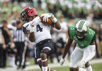 Cincinnati wide receiver Thomas Geddis (4) makes a catch against Marshall defender Kereon Merrell (5) an NCAA college football game on Saturday, Sept. 28, 2019, in Huntington, W.Va. (Sholten Singer/The Herald-Dispatch via AP)