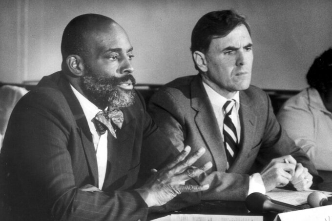 In this Nov. 7, 1983, photo, mayoral candidates Mel King, left, and Raymond Flynn participate in a debate at the Old South Church in Boston. King, who lost the election to Flynn, was the first Black person to run for mayor of Boston. (John Blanding/The Boston Globe via AP)