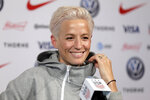 Megan Rapinoe, a member of the United States women's national soccer team, speaks to reporters during a news conference in New York, Friday, May 24, 2019. (AP Photo/Seth Wenig)