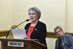 State Rep. Sharon Greef, R-Florence, introduces House Bill 171 to the House Judiciary Committee at the State Capitol, Tuesday, Jan. 19, 2021, in Helena, Mont. (Thom Bridge/Independent Record via AP)