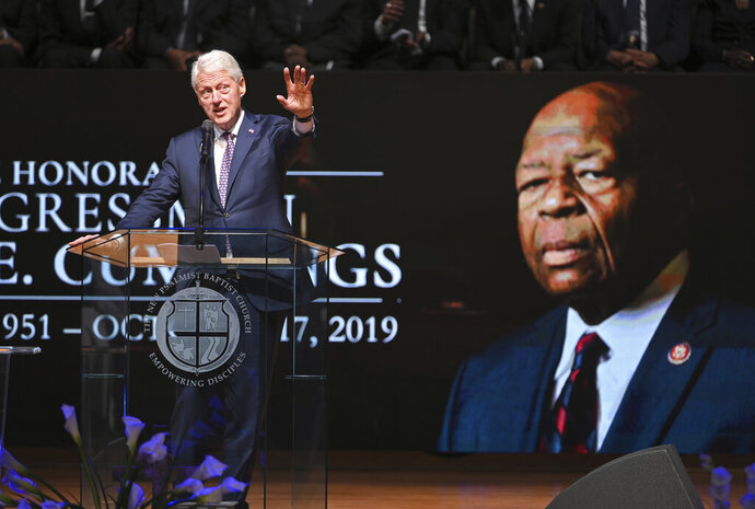 Former Preisdent Bill Clinton speaks at the funeral service for Rep. Elijah Cummings, D-Md., at the New Psalmist Baptist Church in Baltimore, Md., on Friday, Oct. 25, 2019. (Lloyd Fox/The Baltimore Sun via AP, Pool)