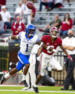 Kentucky defensive back Kelvin Joseph (1) defends against Alabama wide receiver DeVonta Smith (6) during an NCAA college football game Saturday, Nov. 21, 2020, in Tuscaloosa, Ala. (Mickey Welsh/The Montgomery Advertiser via AP)