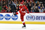 Detroit Red Wings defenseman Filip Hronek, of the Czech Republic, celebrates after scoring a goal against the St. Louis Blues in the second period of an NHL hockey game, Sunday, Oct. 27, 2019. (AP Photo/Jose Juarez)