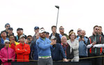 J.B. Holmes of the United States lines up his tee shot on the 14th during the second round of the British Open Golf Championships at Royal Portrush in Northern Ireland, Friday, July 19, 2019.(AP Photo/Jon Super)