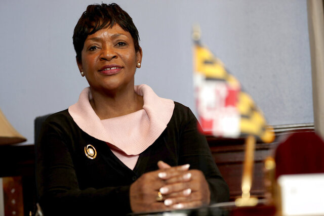 FILE-In this Thursday, Jan. 2, 2020 photo, Maryland House Speaker Adrienne Jones is seen during an interview with The Associated Press in Annapolis, Md. A measure in Maryland to repeal the state-song status of a poem that refers to President Abraham Lincoln as a despot and includes a reference to