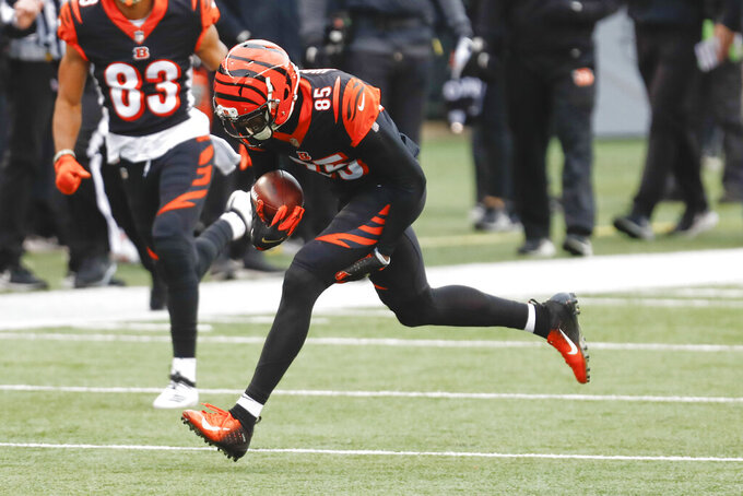 Cincinnati Bengals wide receiver Tee Higgins (85) grabs his leg as he runs after making a catch against the Baltimore Ravens during the first half of an NFL football game, Sunday, Jan. 3, 2021, in Cincinnati. (AP Photo/Aaron Doster)