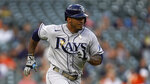 Tampa Bay Rays' Wander Franco hits a single against the Detroit Tigers in the first inning of a baseball game in Detroit, Friday, Sept. 10, 2021. (AP Photo/Paul Sancya)
