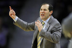 Baylor head coach Scott Drew directs this team during the first half of an NCAA college basketball game against Kansas State in Manhattan, Kan., Monday, Feb. 3, 2020. (AP Photo/Orlin Wagner)