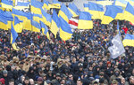 Holding Ukrainian state flags, members of far-right groups hold a mass demonstration against government corruption on the Independence Square in Kiev, Ukraine, Saturday, March 23, 2019. (AP Photo/Efrem Lukatsky)