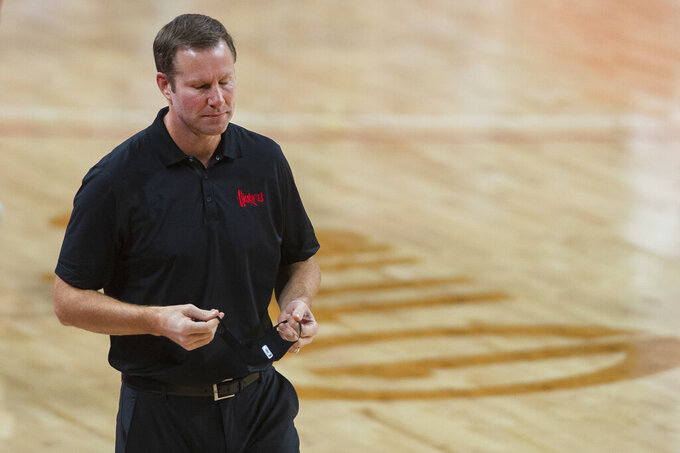 Nebraska head coach Fred Hoiberg shakes his head as he walks back to the sideline after Indiana scored a 3-point shot in the second half of an NCAA college basketball game Sunday, Jan. 10, 2021, in Lincoln, Neb. (Kenneth Ferriera/Lincoln Journal Star via AP)