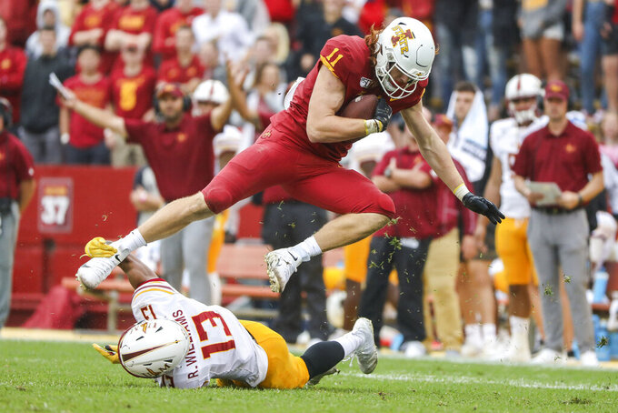 Iowa State tight end Chase Allen tries to break away from the grasp of Louisiana-Monroe cornerback Rhoy Williams during an NCAA football game on Saturday, Sept. 21, 2019 in Ames, Iowa.I owa State's Charlie Kolar, Allen and Dylan Soehner came into the season as perhaps the most celebrated group of tight ends in the country, and they still are.  (AP Photo/Justin Hayworth)
