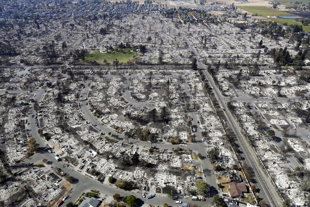 FILE - This Oct. 14, 2017 file photo shows an aerial view shows the devastation of the Coffey Park neighborhood after the Tubbs swept through in Santa Rosa, Calif. Pacific Gas & Electric says its plan for getting out of bankruptcy has won overwhelming support from the victims of deadly Northern California wildfires ignited by the utility's fraying electrical grid. The victims backed PG&E's blueprint despite concerns that they will be shortchanged by a $13.5 billion fund that's supposed to cover their losses. The preliminary results of a vote announced Monday, May 18, 2020, keep PG&E on track for meeting a June 30 deadline to get out of bankruptcy so it can qualify for coverage from a California wildfire insurance fund that was created to help protect the utility from getting into financial trouble again. (AP Photo/Marcio Jose Sanchez, File)
