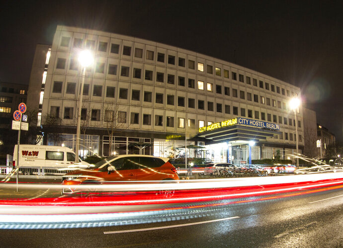 File---Picture taken on Jan.7 2020, shows cars driving past the City Hostel in Berlin, Germany. A long-standing dispute over a hostel on the grounds of the North Korean embassy in Berlin-Mitte is now at the Berlin Administrative Court. (Paul Zinken/dpa via AP)