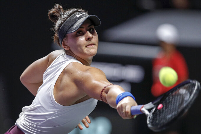 FILE - In this Wednesday, Oct. 30, 2019 file photo, Bianca Andreescu of Canada hits a return shot against Karolina Pliskova of the Czech Republic during the WTA Finals Tennis Tournament in Shenzhen, China's Guangdong province. The Rogers Cup women's tennis tournament will not be played this year due to the COVID-19 pandemic. Tennis Canada announced that the event, scheduled for Aug. 7-16 in Montreal, is off the schedule, Saturday, April 11, 2020.  (AP Photo/Andy Wong)