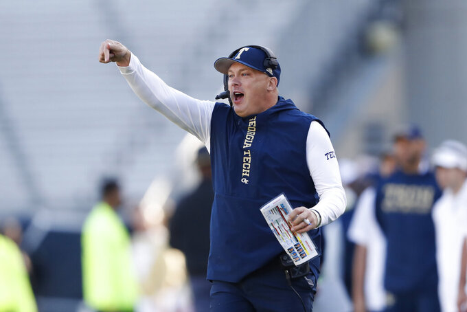Georgia Tech head coach Geoff Collins reacts on the sideline in the first half of an NCAA college football game against the Pittsburgh Saturday, Nov. 2, 2019, in Atlanta. (AP Photo/John Bazemore)
