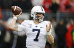 Penn State quarterback Will Levis throws a pass against Ohio State during the second half of an NCAA college football game Saturday, Nov. 23, 2019, in Columbus, Ohio. Ohio State beat Penn State 28-17. (AP Photo/Jay LaPrete)