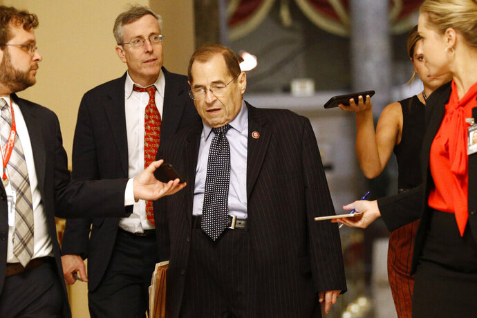 House Judiciary Committee Chair Jerrold Nadler, D-N.Y., walks to the House Chamber, Tuesday, July 16, 2019, on Capitol Hill in Washington. (AP Photo/Patrick Semansky)