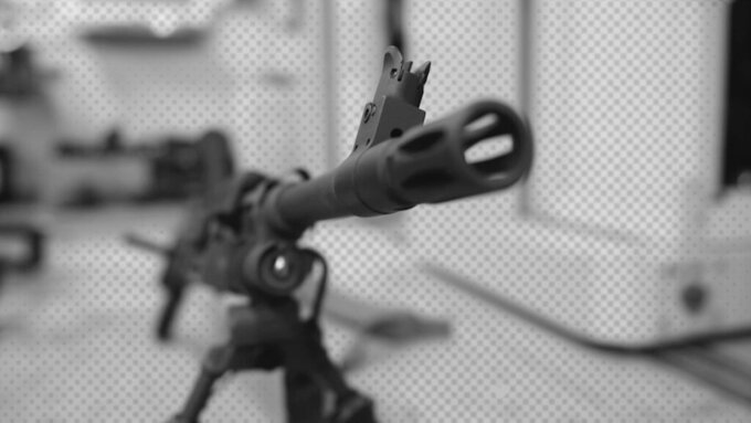 A photo illustration of a gun in a U.S. Air Force arms room. (AP Illustration)