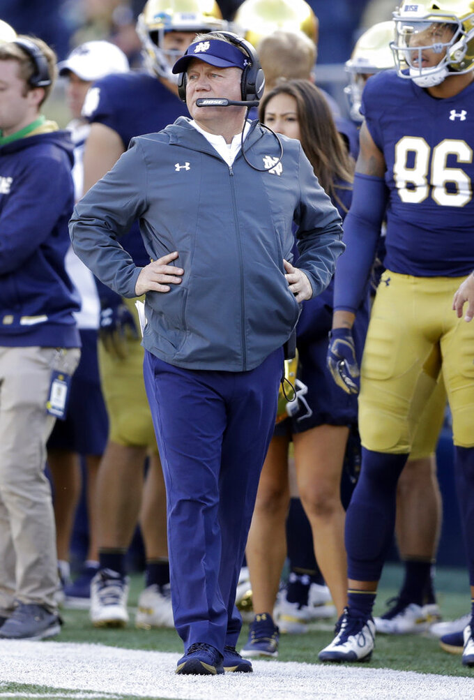 Notre Dame head coach Brian Kelly watches during the second half of an NCAA college football game against Pittsburgh, Saturday, Oct. 13, 2018, in South Bend, Ind. Notre Dame won 19-14. (AP Photo/Darron Cummings)